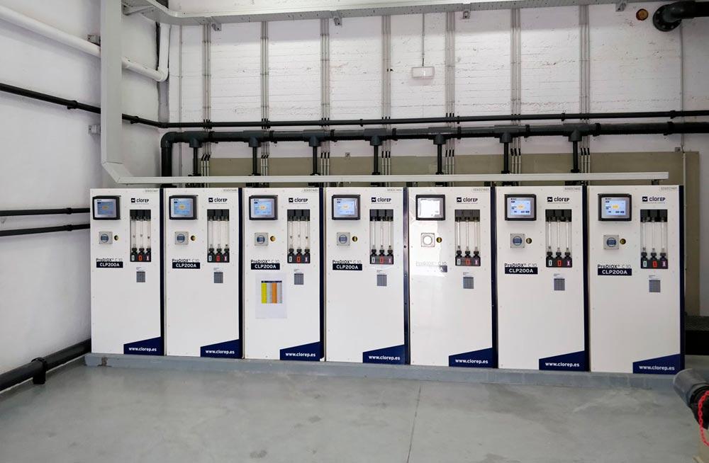 Instalación de 7 generadores de dióxido de cloro PRODIOX CLP200 de 10 kg/h